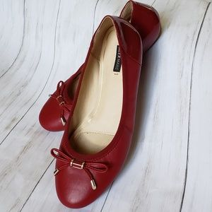 cbf3fb680 Alex Marie Red Leather Ballet Flat with Bows (9M)